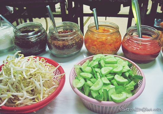 condiments from a store in Hua Lamphong Train Station