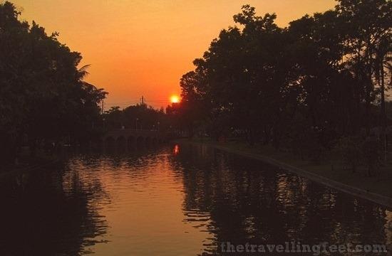 sunset at the Chatuchak Park in Bangkok
