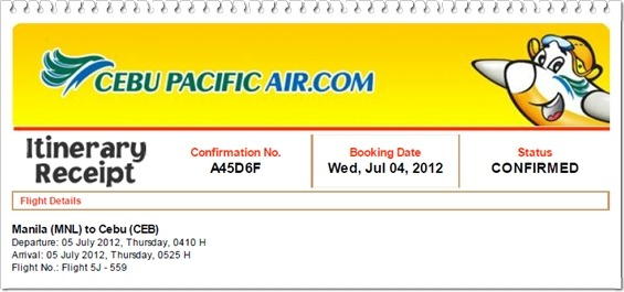 cebu pacific confirmation itinerary