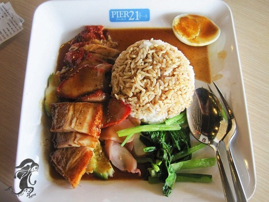 roasted duck and pork meal at Pier 21