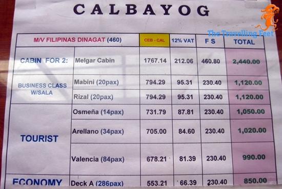 boat schedule Cebu to Calbayog
