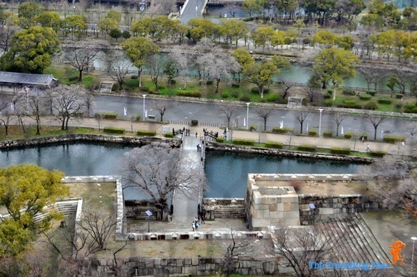birds eye view of the moat surrounding Osaka Castle