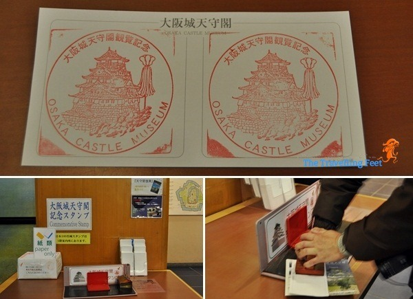 Commemorative Stamps for free inside Osaka Castle in Japan