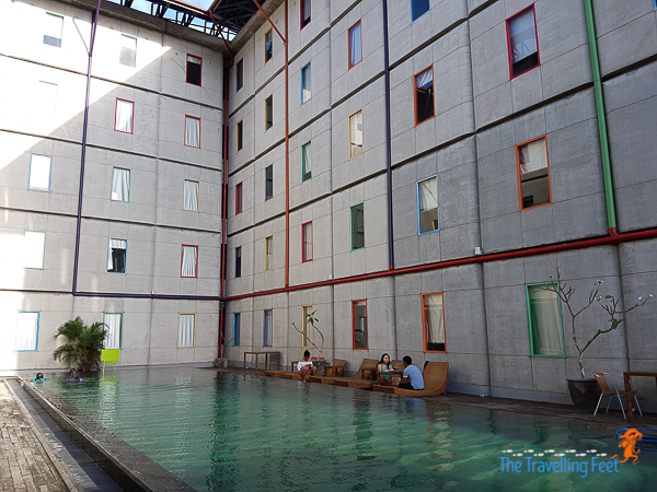 a budget hotel with a swimming pool!
