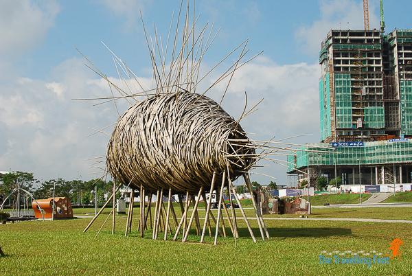 Cocoon bamboo art installation