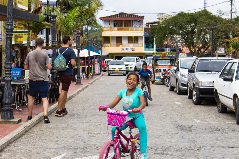 a girl on a bike in Colombia