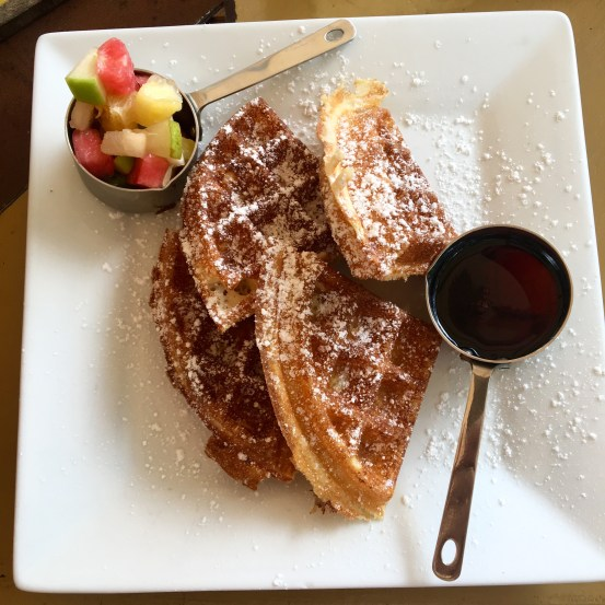 Fruit and waffles at Coffee Barbados Cafe in Barbados, Caribbean