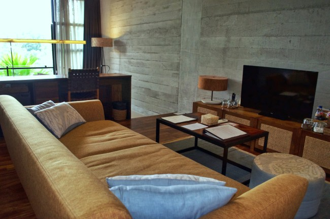 Living room in the forest suite at Bisma Eight, Ubud, Bali, Indonesia
