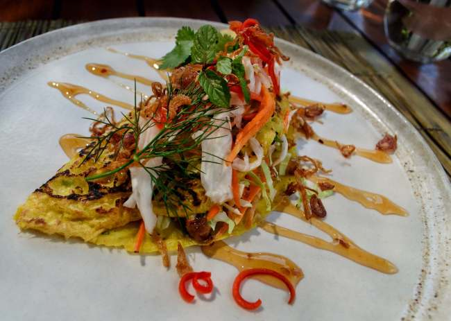 Vietnamese duck pancake at Copper, Bisma Eight, Ubud, Bali, Indonesia