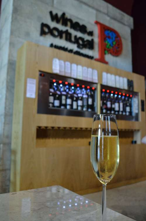 Espumante at Wines of Portugal wine tasting room in Lisbon, Portugal