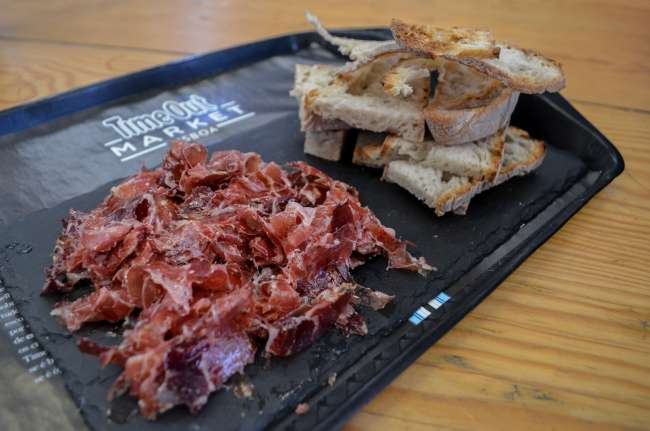 Presunto ham from Manteigaria Silva in Time Out market Lisbon, Portugal