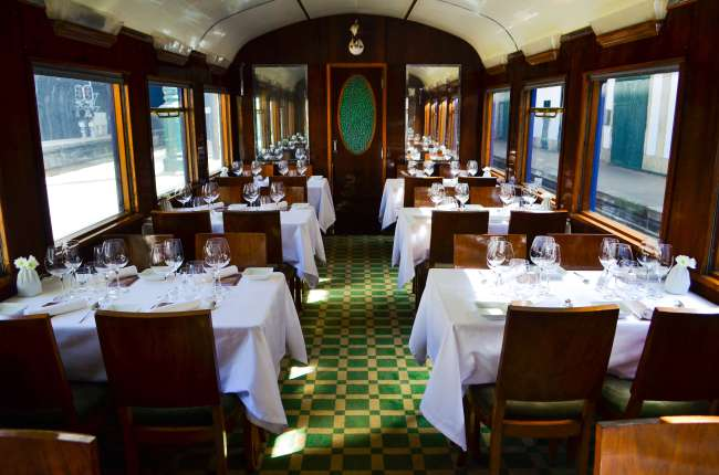 The dining carriage in the Presidential gourmet food train, Porto, Portugal