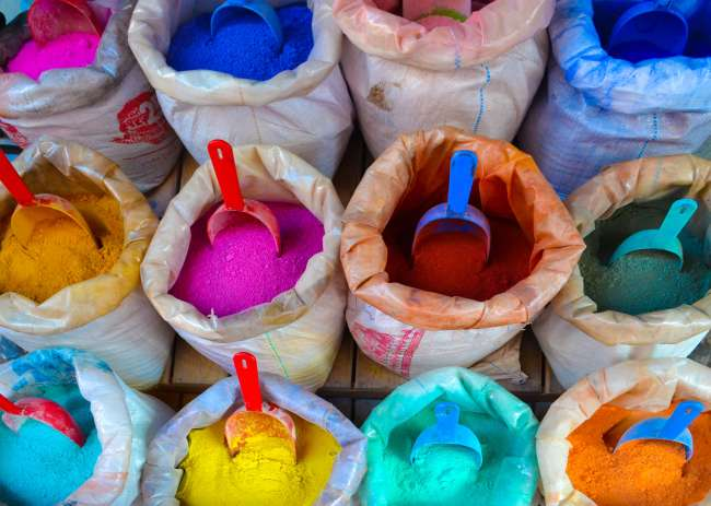Coloured dyes in Chefchaouen, Morocco