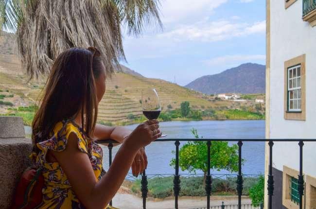 Port on the balcony at Symington's Quinta do Vesuvio with The Presidential, Douro Valley, Porto, Portugal