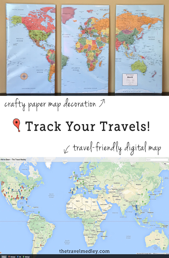 Track Your Travels – Paper/Digital Push Pin Travel Map