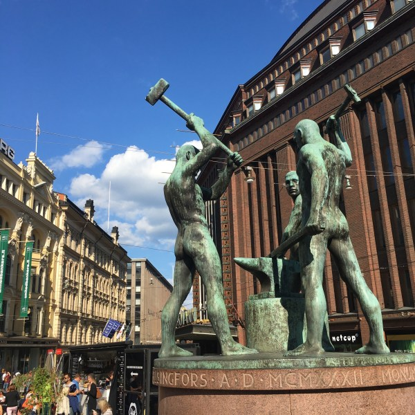 The Three Smiths Statue in Helsinki - depicts three naked smiths hammering an anvil