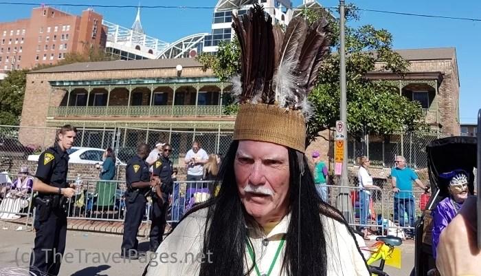 Wayne Dean as Chief Slacabamorinico in Mobile, Alabama, home of the USA's first Mardi Gras celebrations.