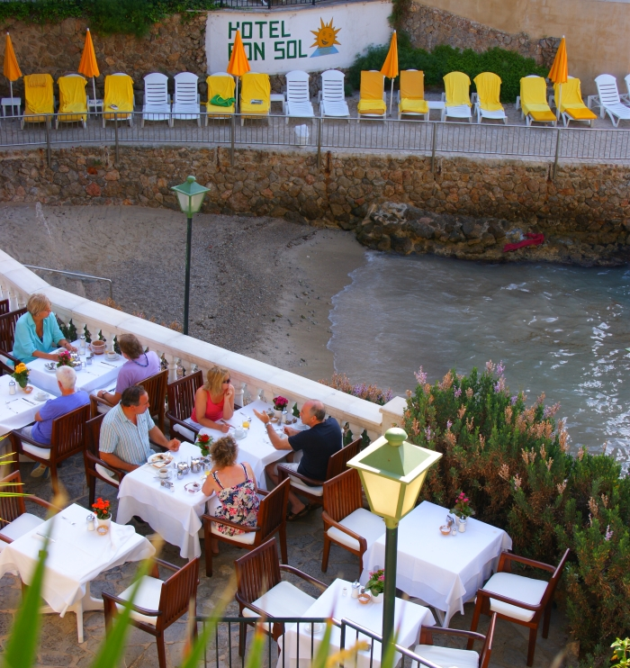 The beach restaurant at the Hotel Bon Sol Resort and Spa in Mallorca in Spain.