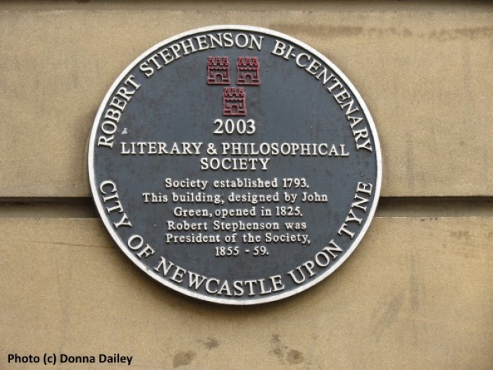 Sign for the Literary and Philosophical Society seen on a Newcastle city walking tour by The Travel Pages