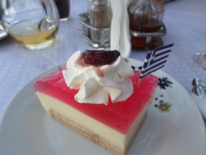 Dessert at the Mantalena Restaurant in Alykanas on Zakynthos in the Ionian Islands of Greece