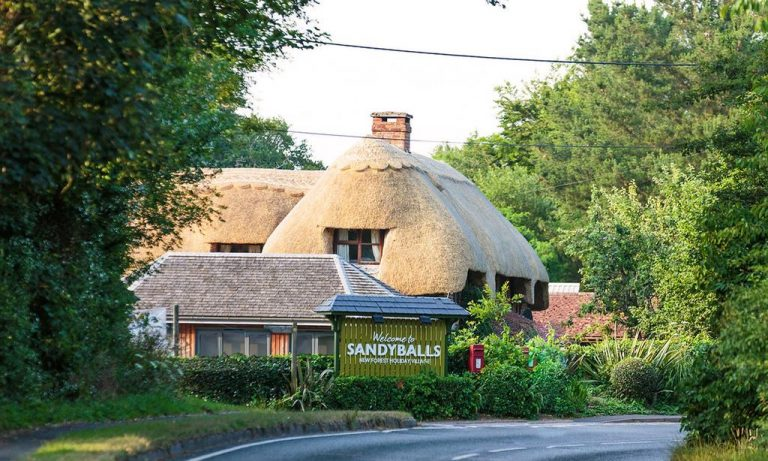 A thatched cottage in Sandy Balls, England