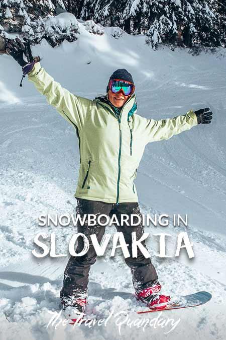 Pin to Pinterest: Snowboarder in Jasna Nízke Tatry, Slovakia