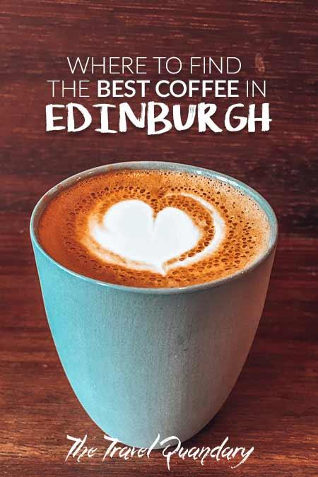 A latte in a mug at Fortitude Coffee, Edinburgh, Scotland