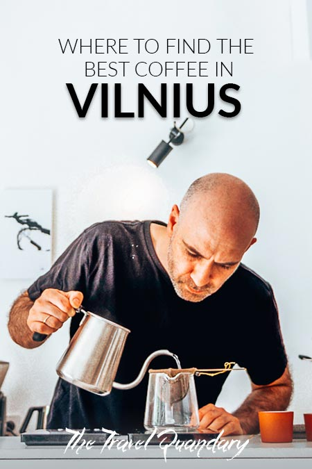 Pin Photo: Emanuelis of Crooked Nose & Coffee Stories pours hot water to prepare Nerodrip Coffee, Vilnius Coffee Guide