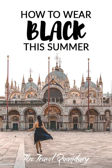 Pin to Pinterest: Twirling in a black dress in Piazza San Marco in Venice, Italy