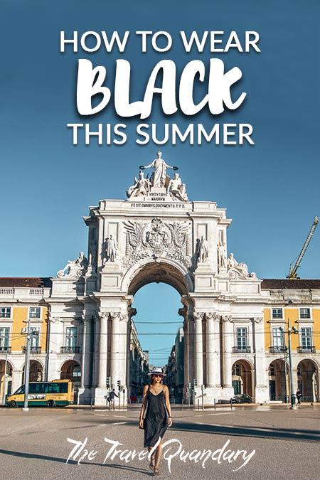 Pin Photo: Jasmine wearing a black dress in front of Arco da Augusta in Lisbon, Portugal