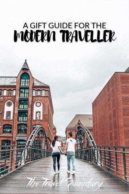 Pin Photo: A couple walk across a bridge in Speicherstadt, Hamburg, Germany