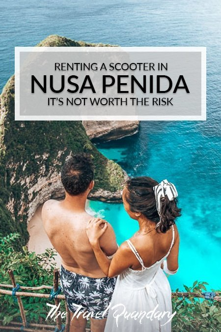 Pin to Pinterest: A couple look out over Kelingking Beach, Nusa Penida, Indonesia