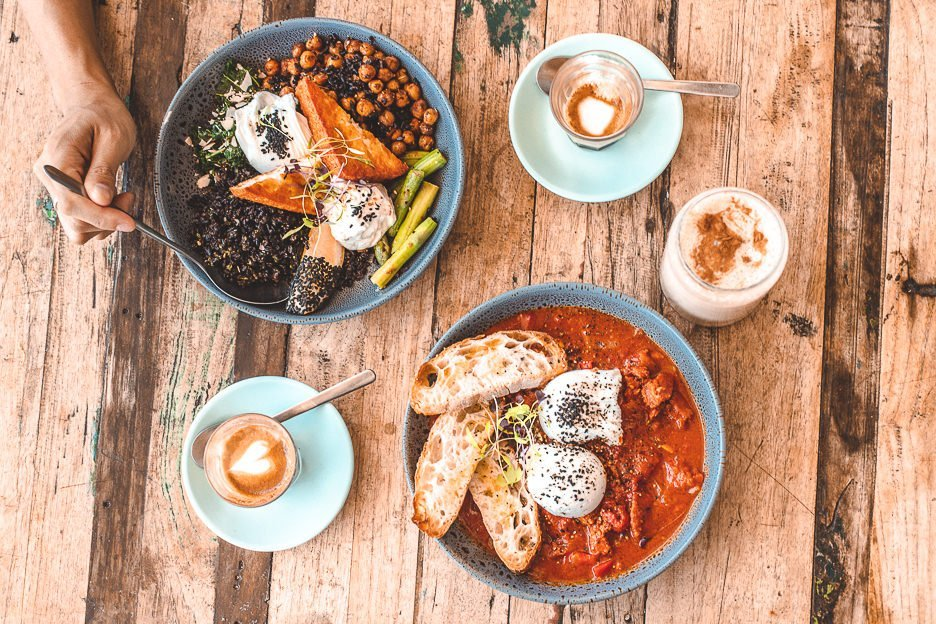 Shakshuka and healthy breakfast bowl at Little Smirk, best breakfast cafes in Brisbane