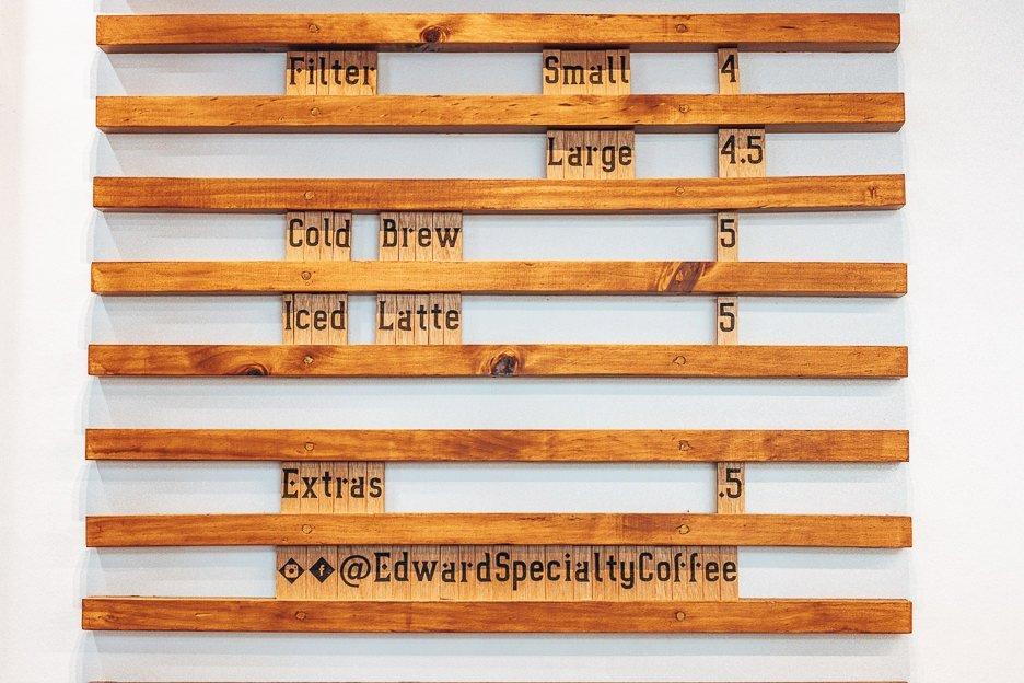 Specialty coffee menu at Edward Specialty Coffee, Brisbane CBD