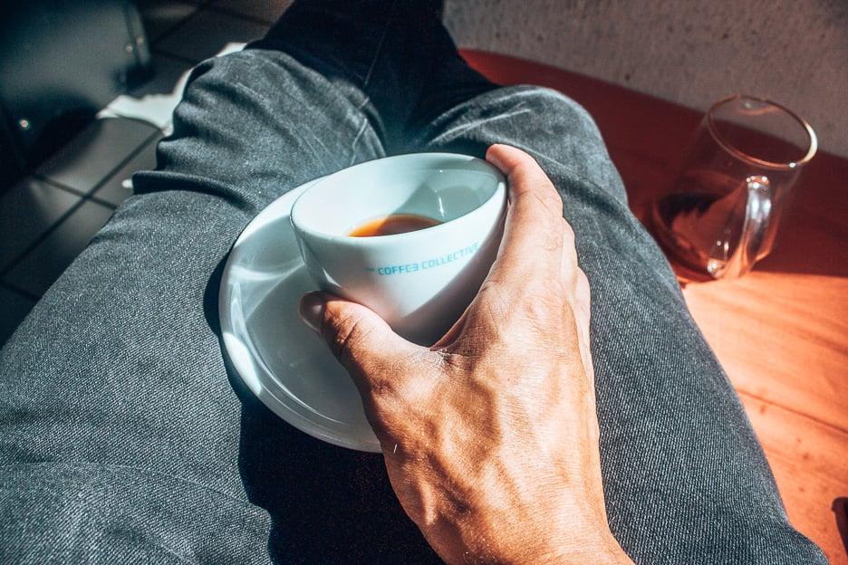 Holding a coffee cup in Copenhagen, Denmark