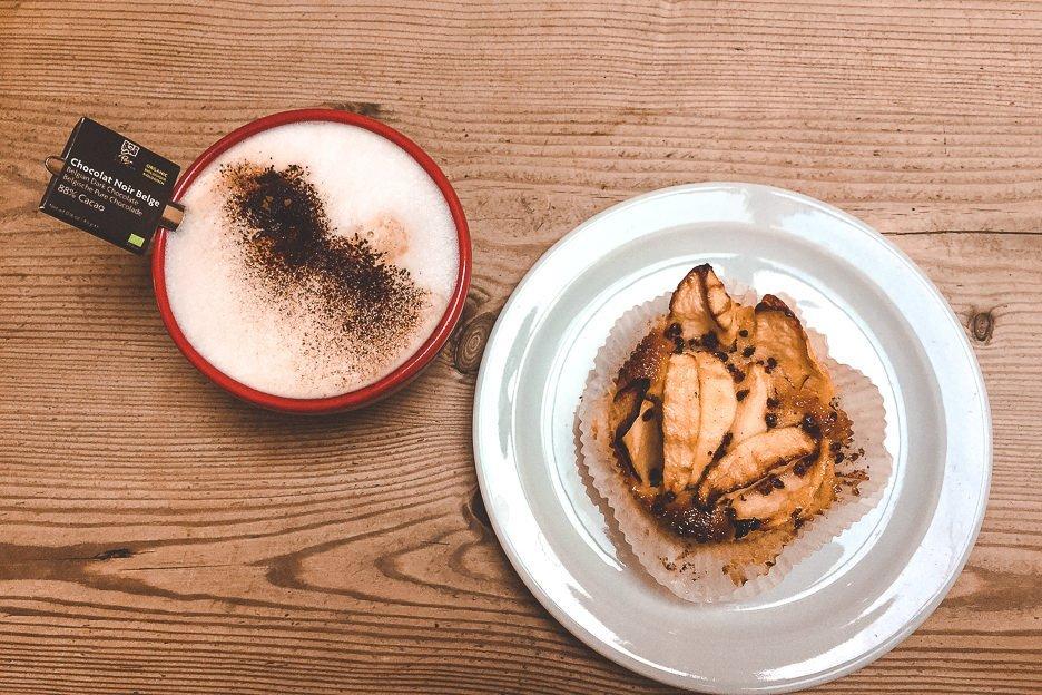Apple tart and coffee at Le Pain Quotidien, Antwerp Belgium
