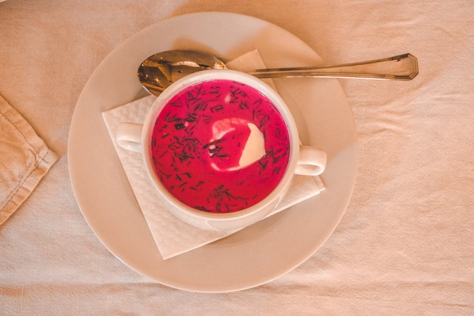 Cold beetroot soup with cream & dill at Snekutis, Vilnius