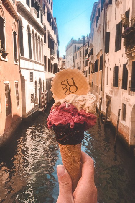 Three gelato flavours from Suso - Venice, Italy