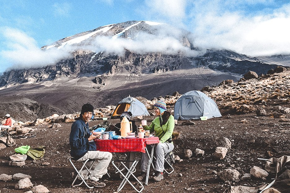 Breakfast with a view of Mt Kilimanjaro in the background