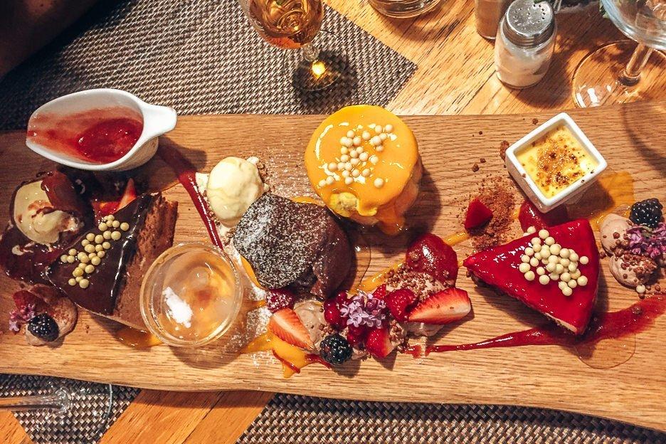Dessert platter at Restavracija Sova Bled, Lake Bled Slovenia