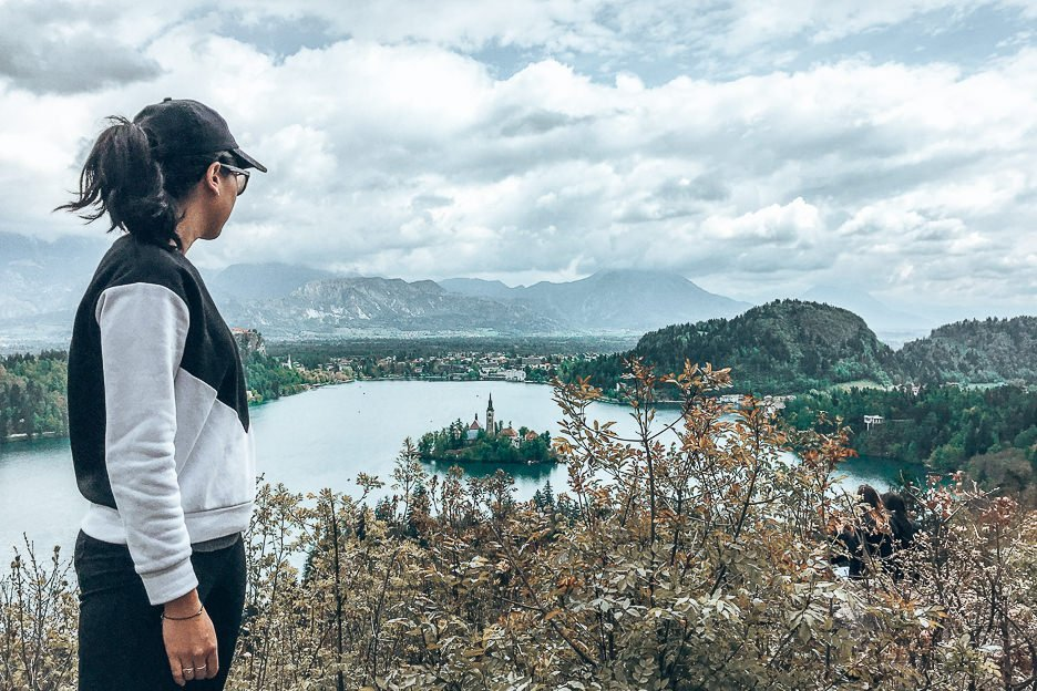 Jasmine enjoying the view from Ojstrica lookout, Lake Bled Slovenia