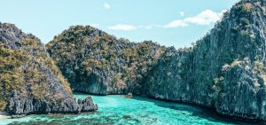 An aerial view of the entrance to Big Lagoon, El Nido, The Philippines