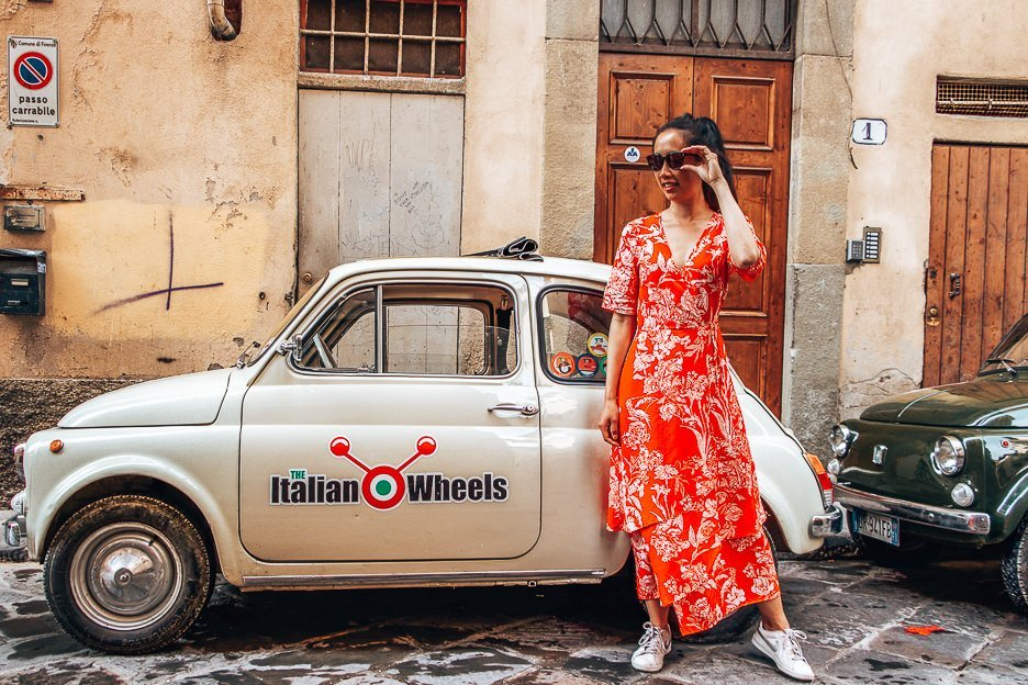 Posing next to Italian Wheels, Florence