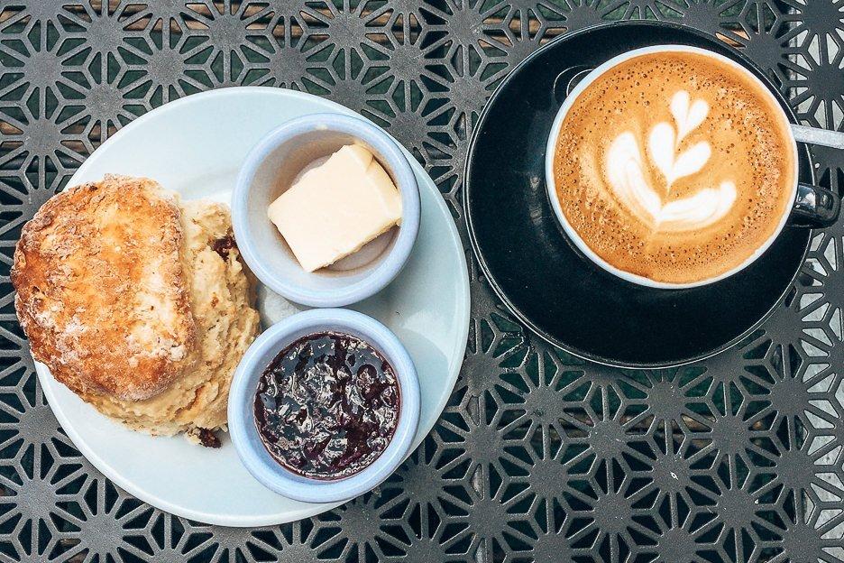 Latte and scones at Wellington Coffee, Edinburgh Scotland