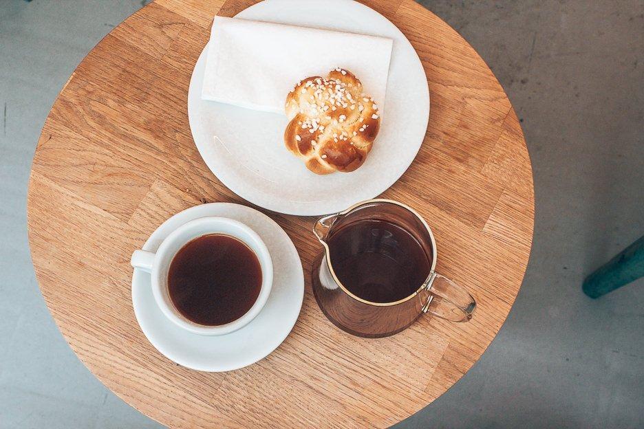 Filter coffee and cinnamon bun at Kaffemik, Coffee in Vienna Austria