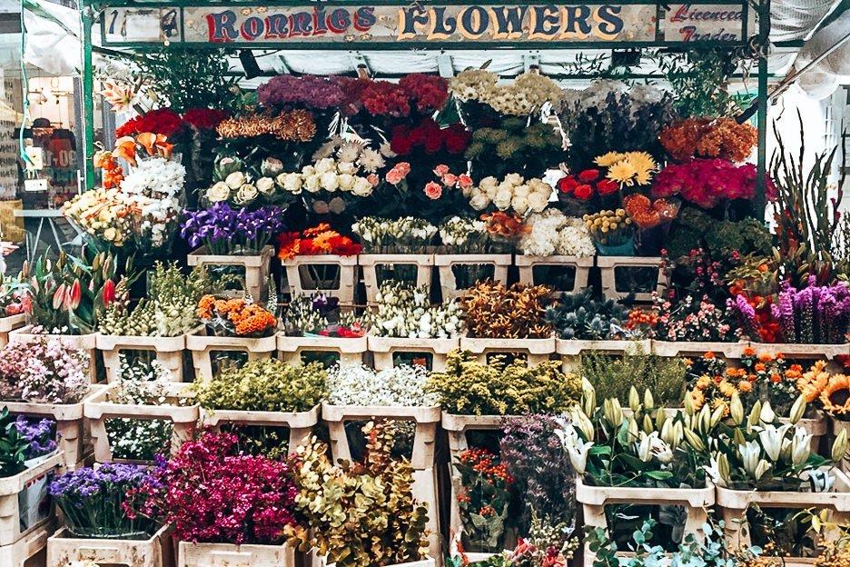 Flower stall at Berwick Street Market in Soho, London Market Guide