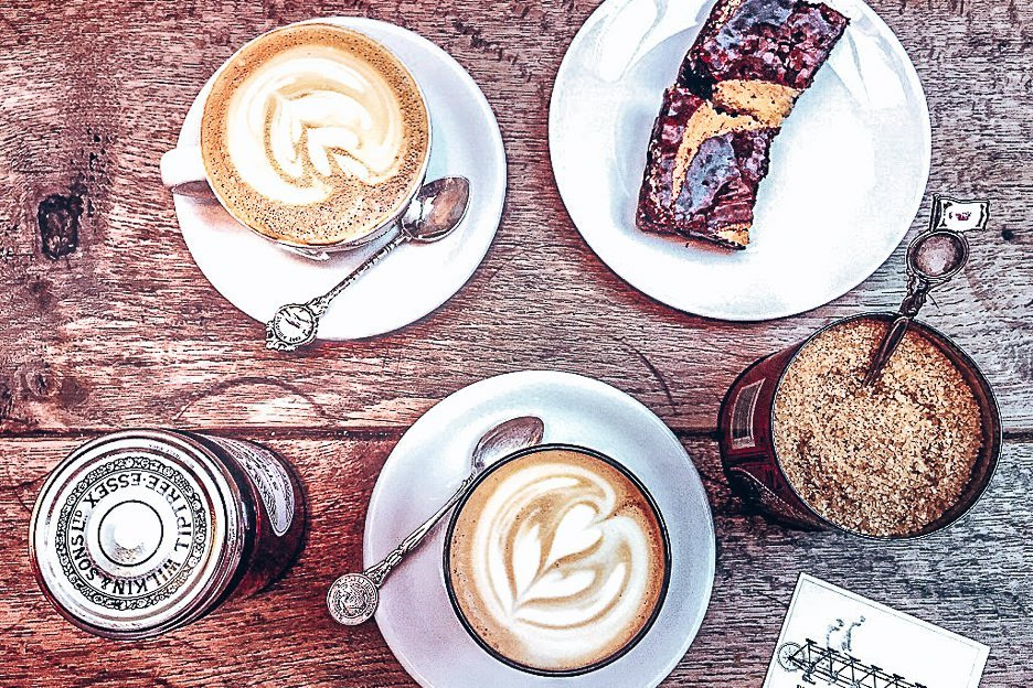 Hot coffess, sugar tin and delicious chocolate brownie, TAP Coffee, London