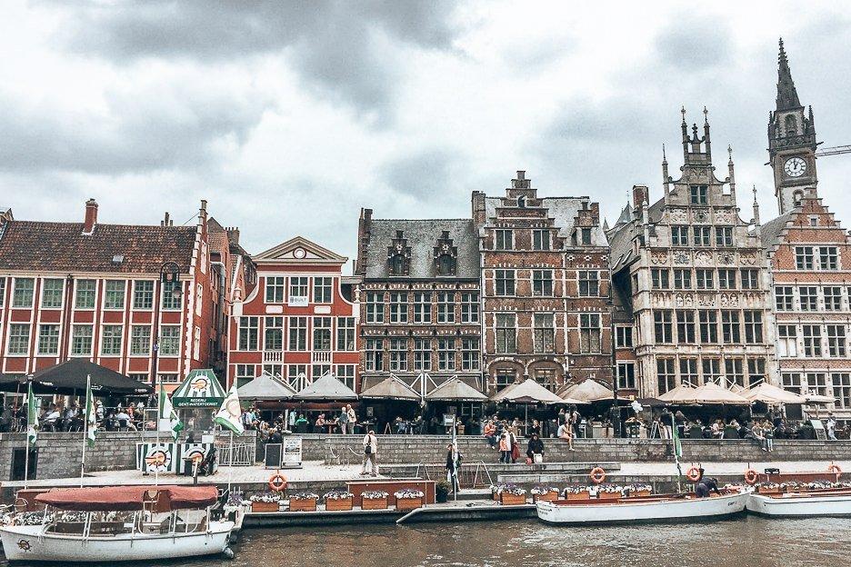 Beautiful buildings along Graslei in Ghent, Belgium
