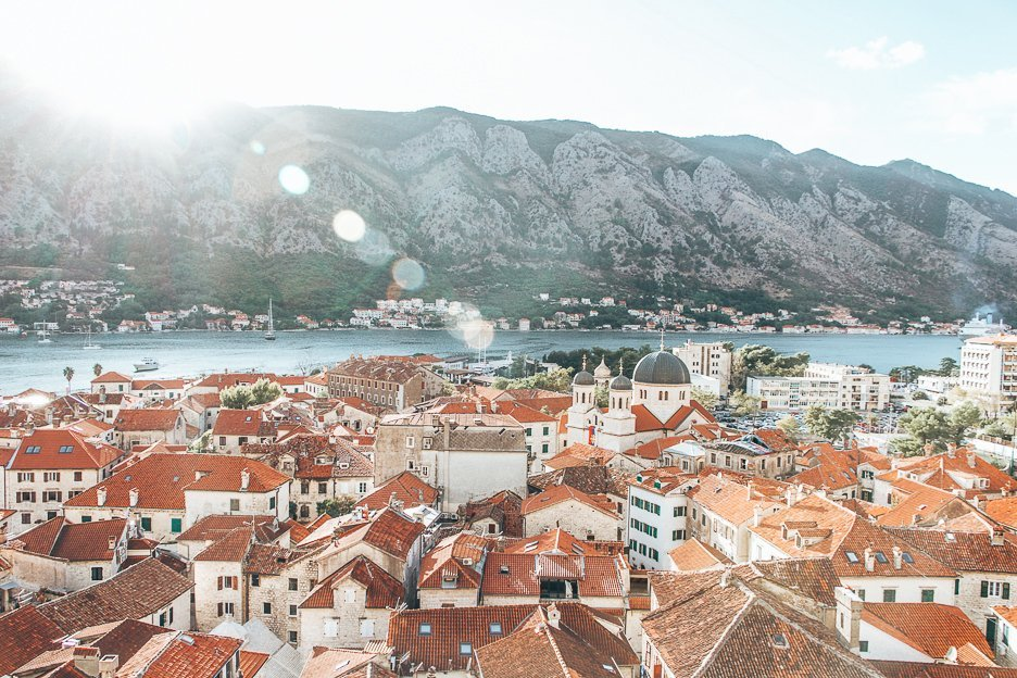 View over red roofs of Kotor, Montenegro
