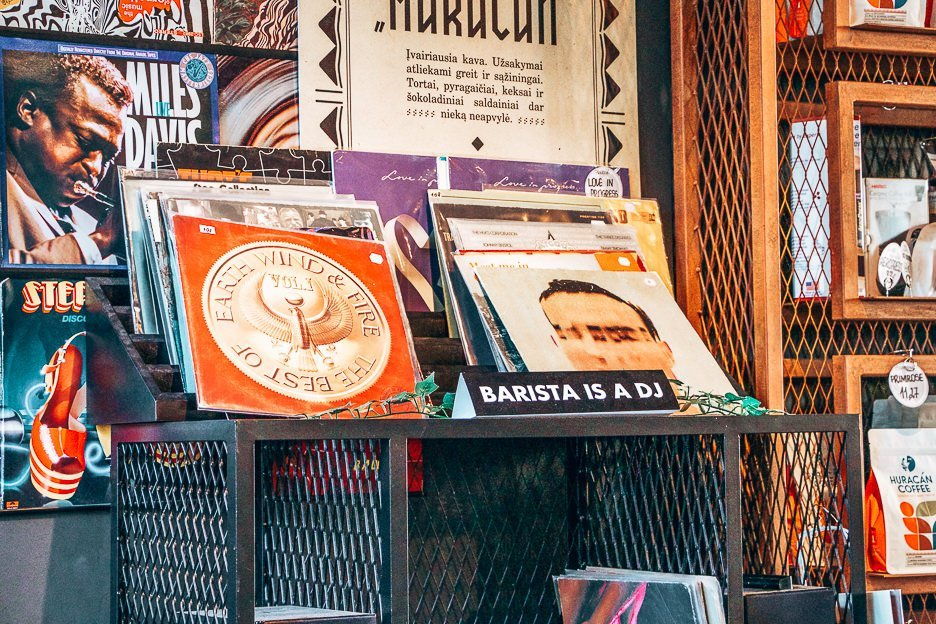 Records at Huracan Coffee, Vilnius